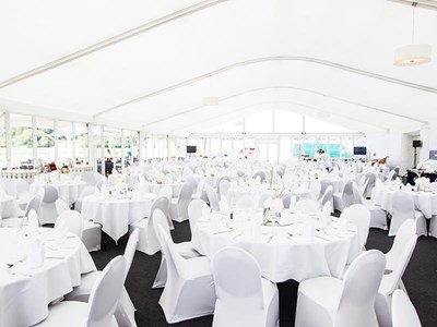 Dine in a luxurious hospitality marquee