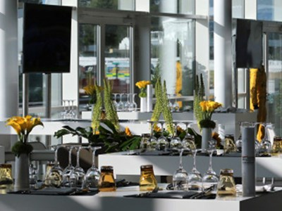 Contemporary hospitality lounge