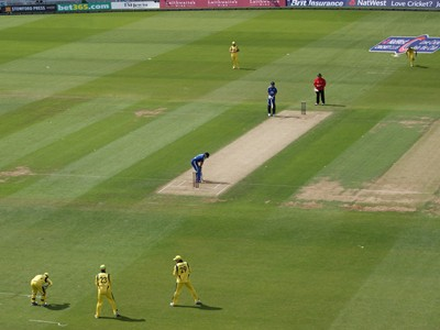 England taking guard in ODI against Australia