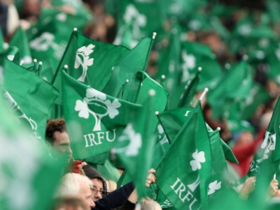 Irish supporters waving flags