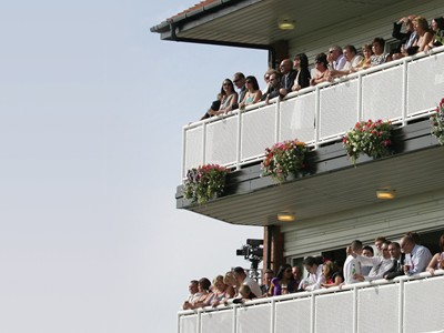 Sweeping views of the racecourse from the Chester racecourse private boxes