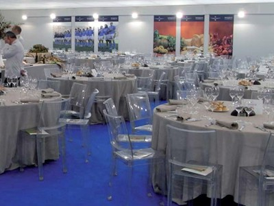 Plush corporate hospitality restaurant within the stadium